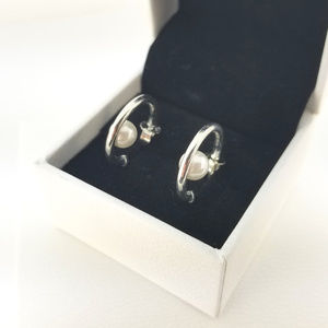 Pandora Contemporary Pearls Hoop Earrings # 297528